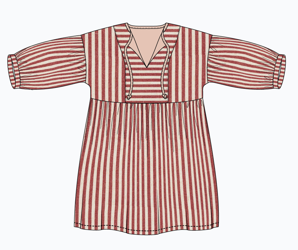 March Dress Design Idea: horizontal stripe center panel and sleeves.