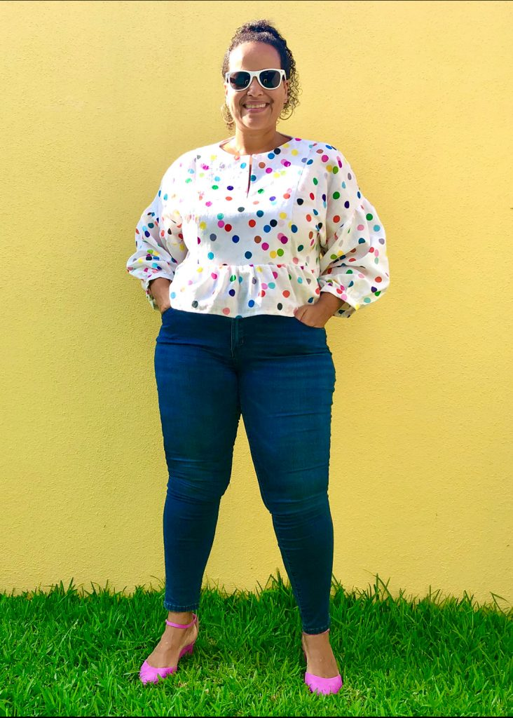 March Top in a lightweight linen with a colorful polka dot print.
