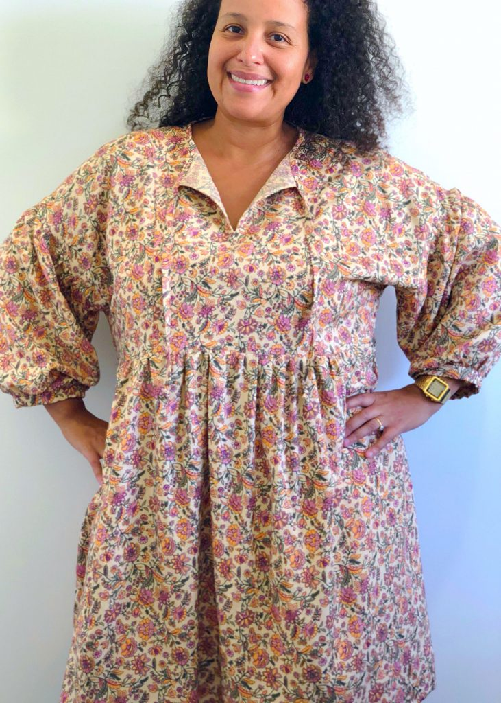 The March Top and Dress in View A made in a rayon fabric.
