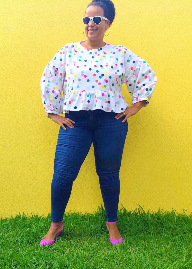 Flavia's March Top Review. The March Top sewing pattern features a dropped shoulder, puffy sleeves, and a peplum.
