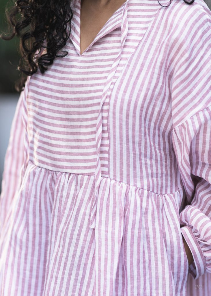 March Top and Dress front bodice. Dress sewing pattern made in linen fabric.