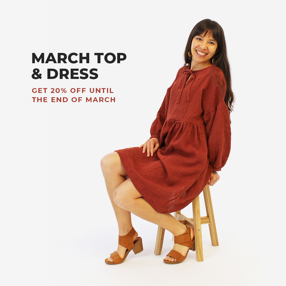 Get the March Top and Dress pattern for 20% off until the end of March, no code required!