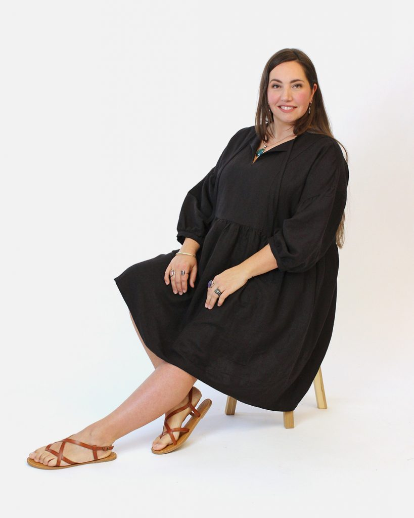 March model photos featuring Nokomis in her black March Dress.
