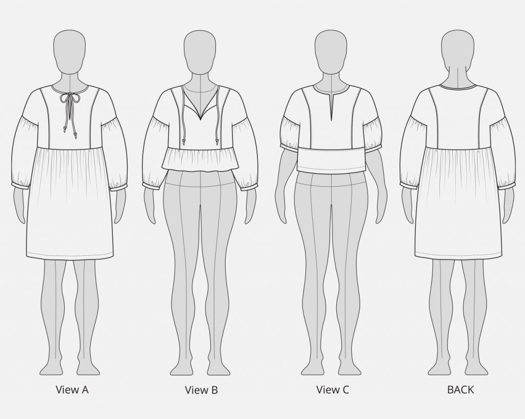 Line Drawing of All Views of the Helen's Closet March Top and Dress Sewing Pattern