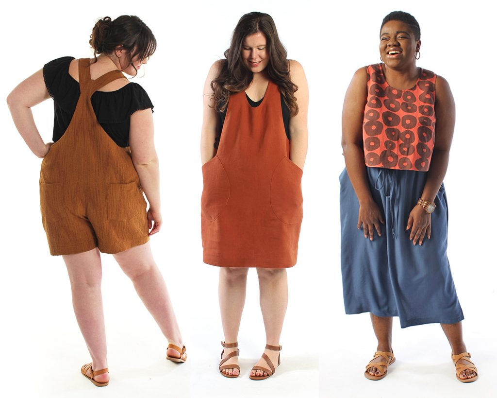 Helen's Closet Patterns samples made in a rusty red orange color. The Yanta Overalls, the York Pinafore, and the Ashton Top.