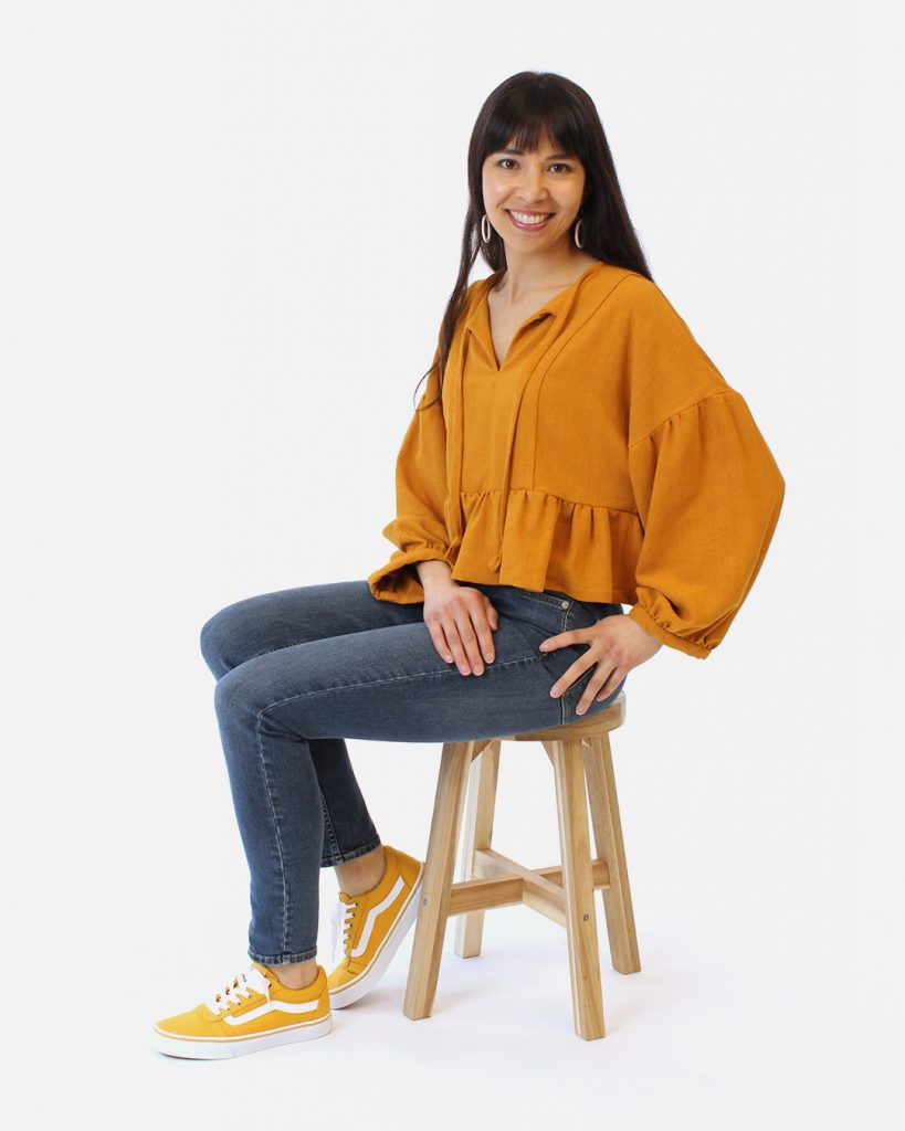 Vanessa's March top was sewn in a viscose linen noil fabric.