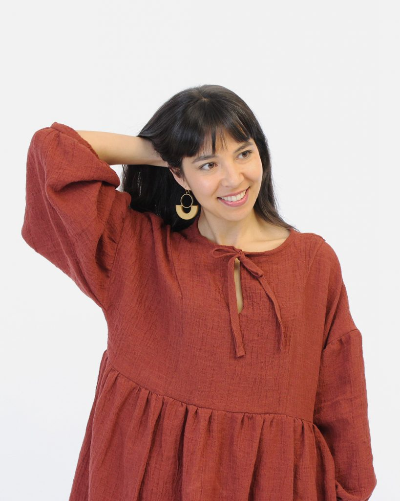 Vanessa's red March dress sewing pattern was sewn in a crinkle linen.