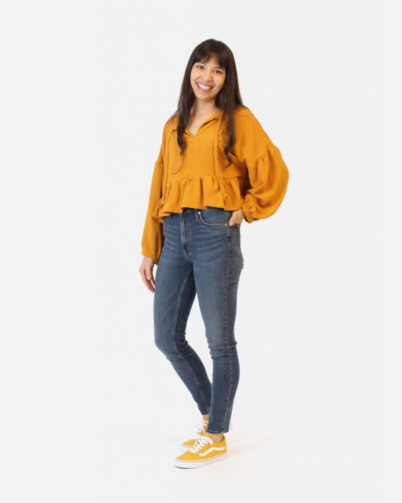 Vanessa's mustard sample of the March Top is View B with a gathered peplum.