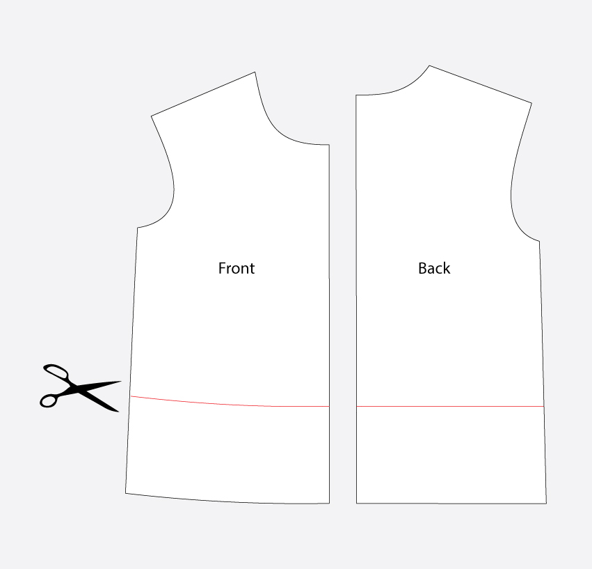 Technical illustration: how to crop a t shirt sewing pattern like the Jackson Tee.