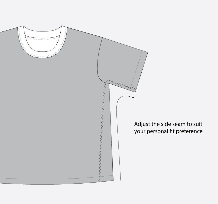 Technical illustration: Adjusting the side seam when cropping a t shirt pattern like Jackson.