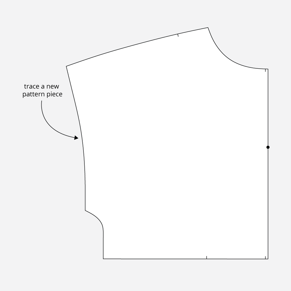Technical Illustration: March Top and Dress FBA. Trace a new pattern piece.