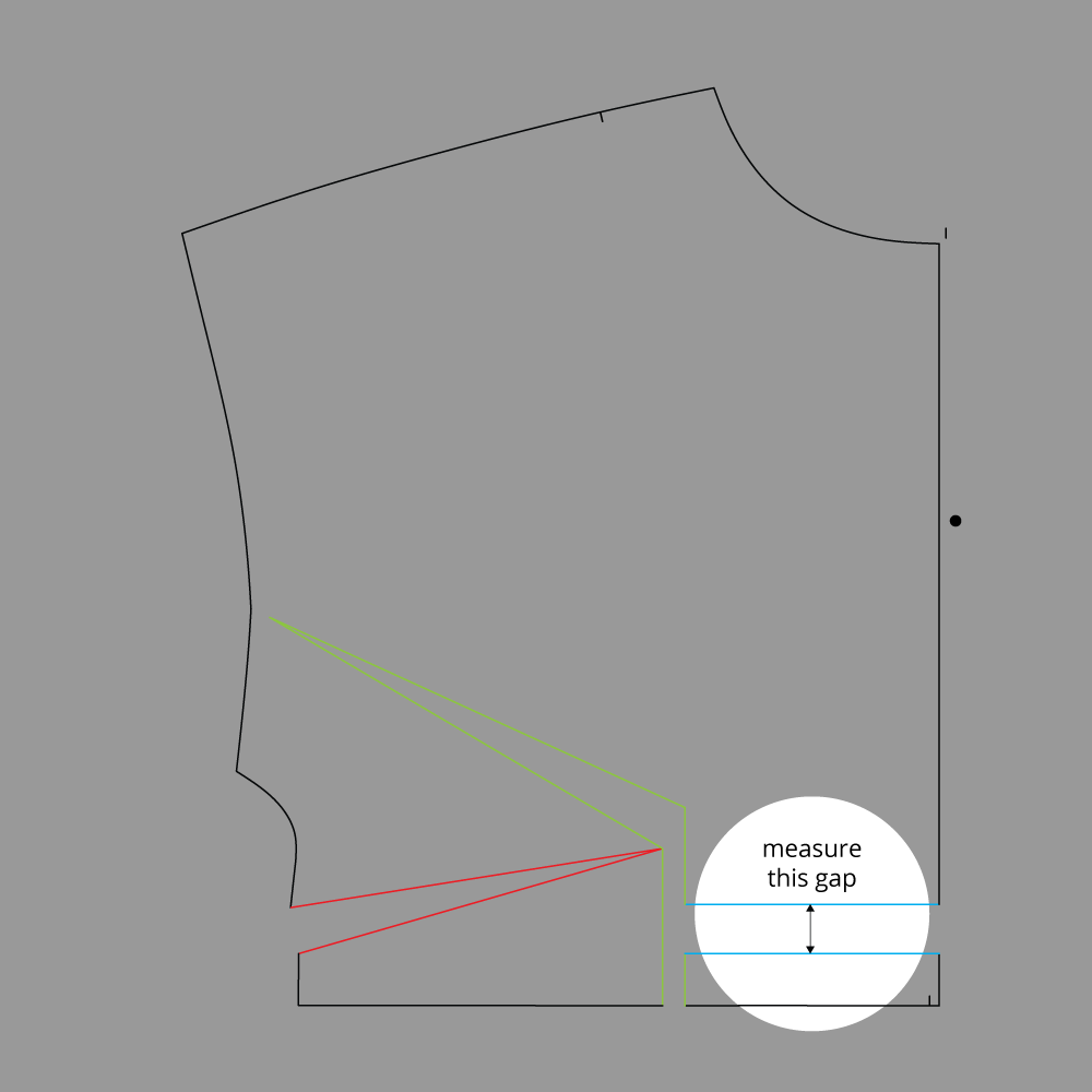 Technical Illustration: March Top and Dress Full Bust Adjustment. Measure new gap between lines #3.