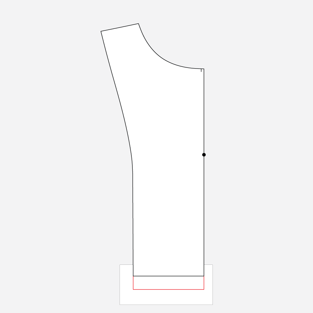 Technical Illustration: March Top and Dress FBA. Add length to facing.