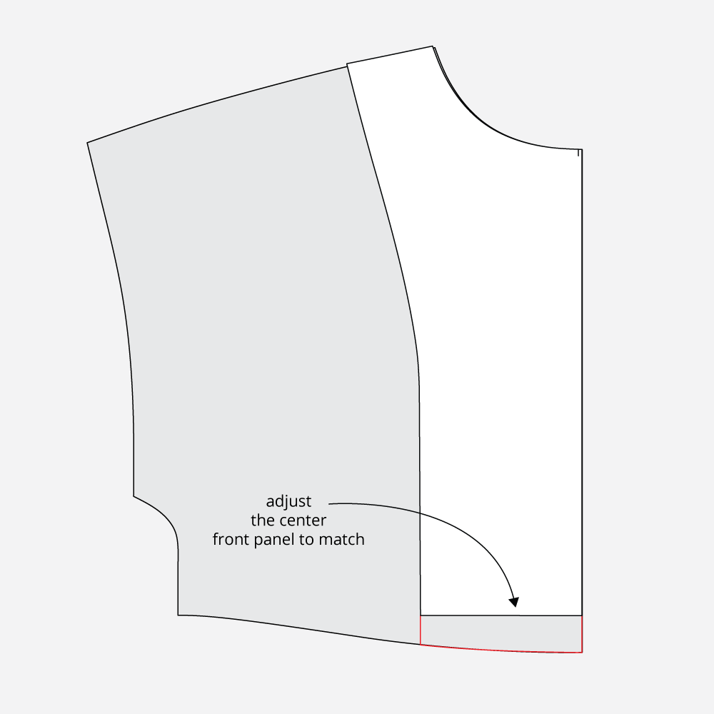 Technical Illustration: March Top and Dress Quick FBA Method. Lengthen facings to match center front.