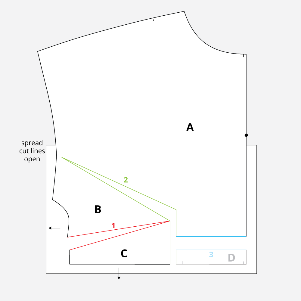 Technical Illustration: March Top and Dress Full Bust Adjustment. Spreak open cut lines.