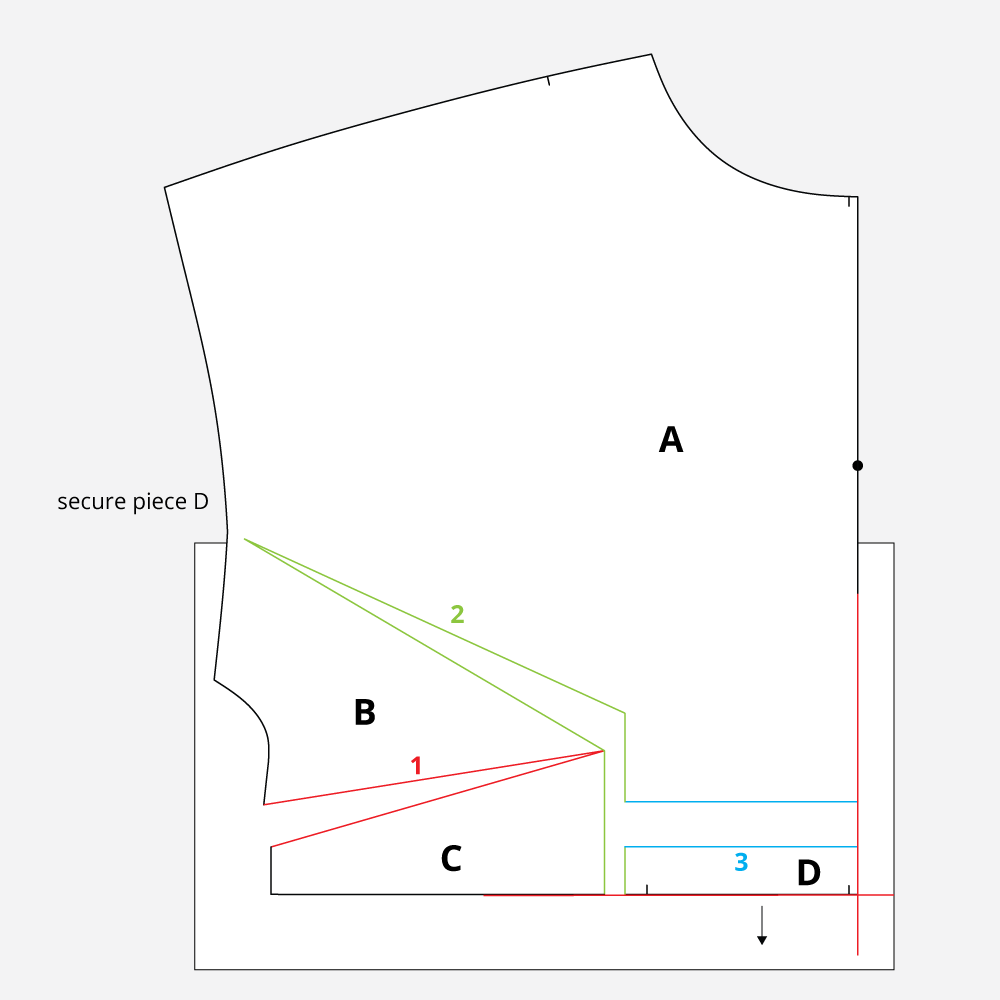 Technical Illustration: March Top and Dress FBA. Tape piece underneath of open and spread lines.