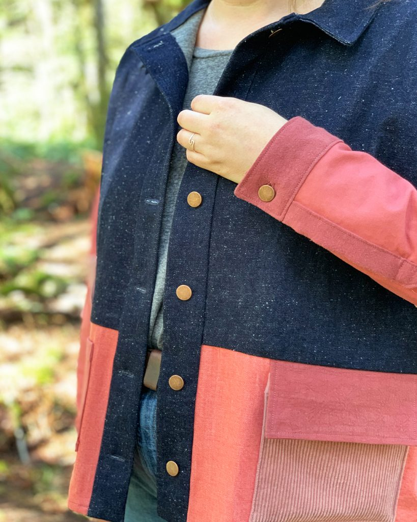 Colorblocked Ilford Jacket close up, seperated button placket and sleeve cuff.