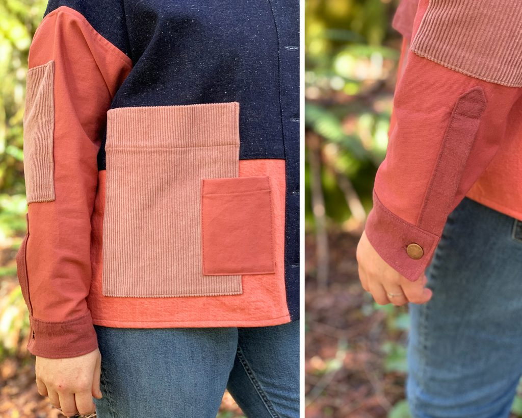 Color blocked Ilford Jacket pocket and sleeve placket close up.