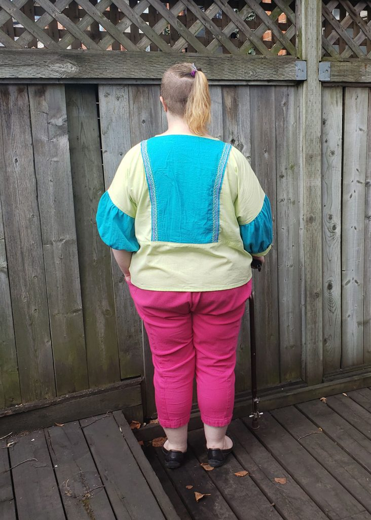 Andie's Embroidered March Top, Back View by Helen's Closet Patterns
