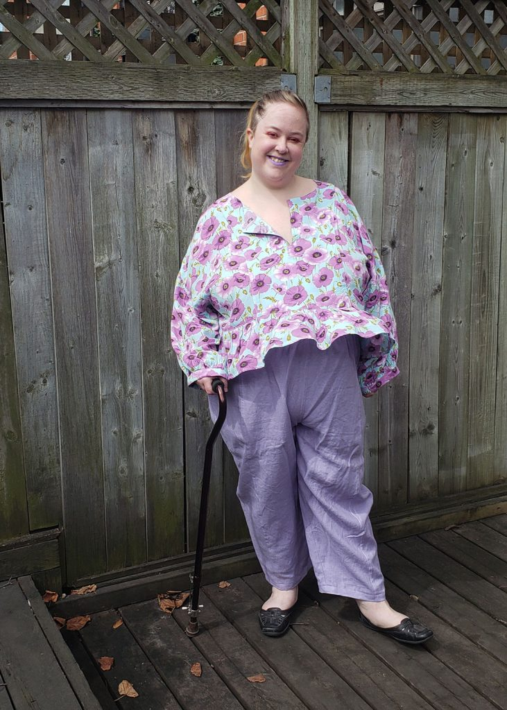 Andie's March Top in a lavender poppy rayon by Helen's Closet Patterns