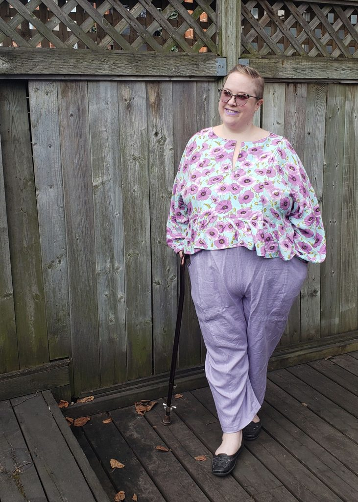 Andie's March Top in a lavender rayon by Helen's Closet Patterns