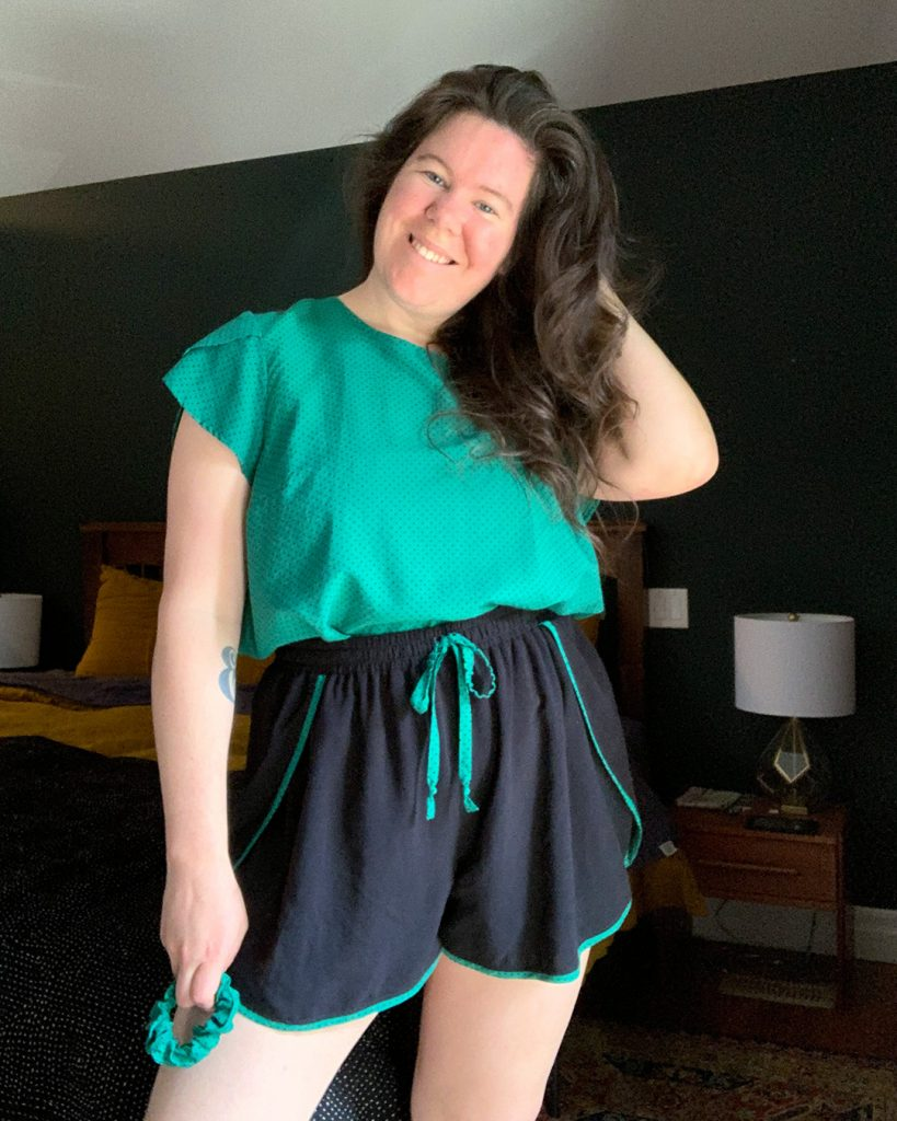 What is your favorite pattern for sewing pajamas? Here Helen models her Ashton Top with Sleeves Sleepwear Set