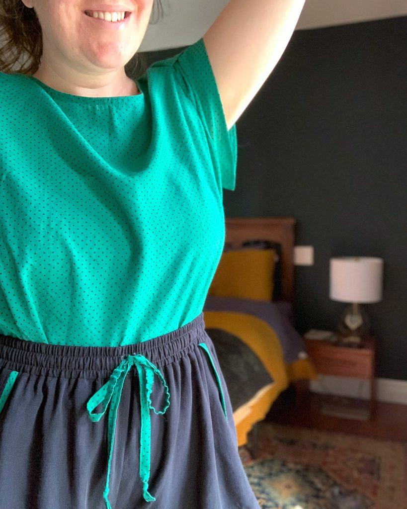 Sewing pajamas using the Ashton Top and self drafted shorts.