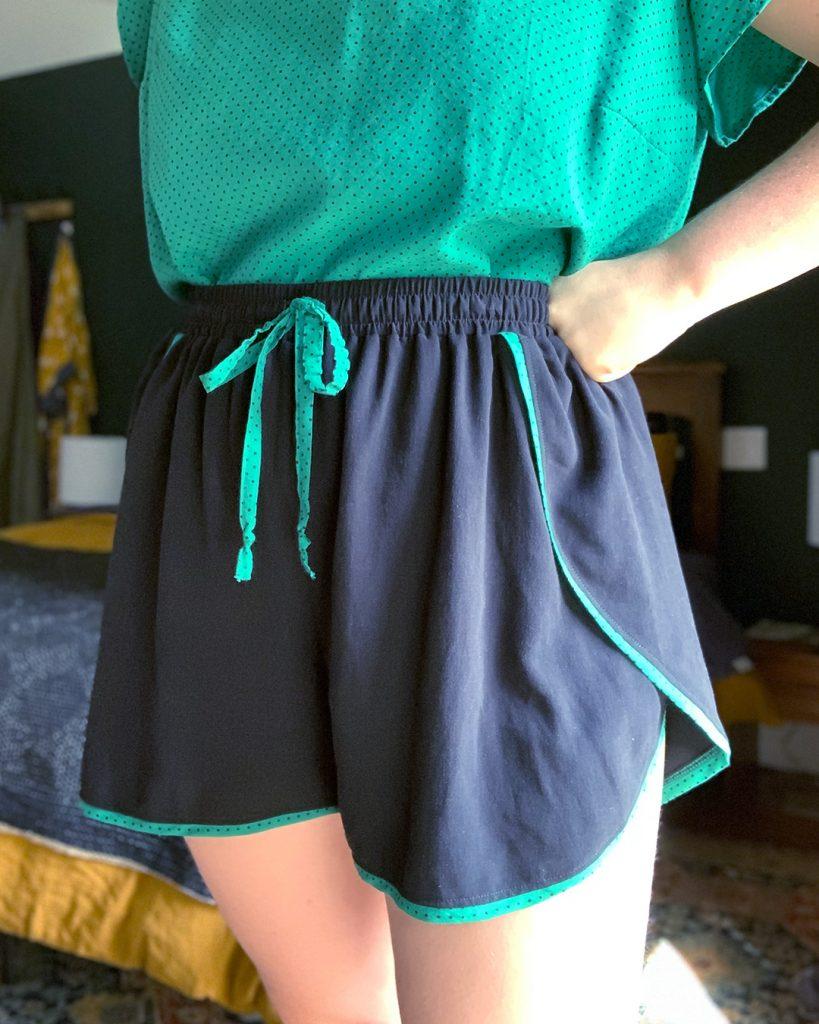 Helen's self-drafted pajama shorts in her Ashton Top pajama set.