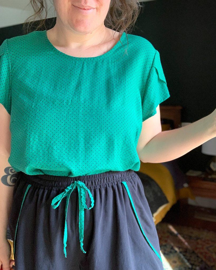 Sewing pajamas in a rayon dot fabric.