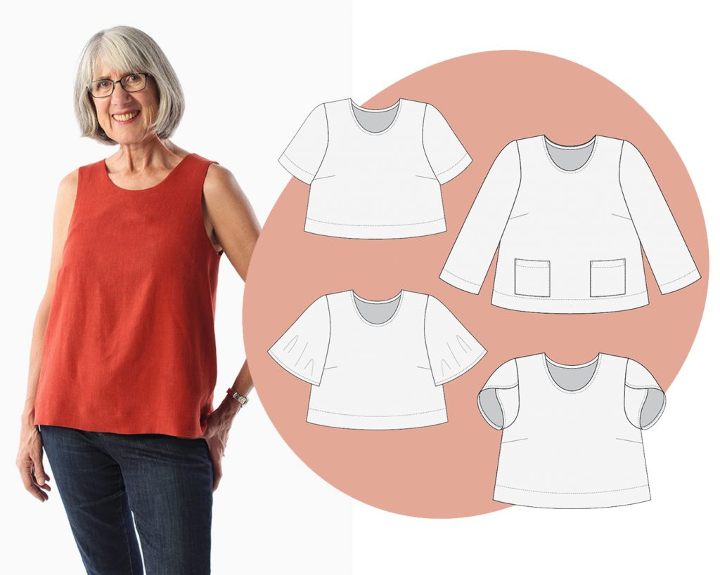 The Ashton Top Sleeve Expansion Pack includes four different sleeve options: short, 3/4 length, butterfly, and tulip!