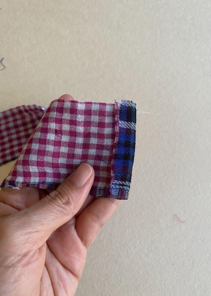 Creating the optional waist ties.