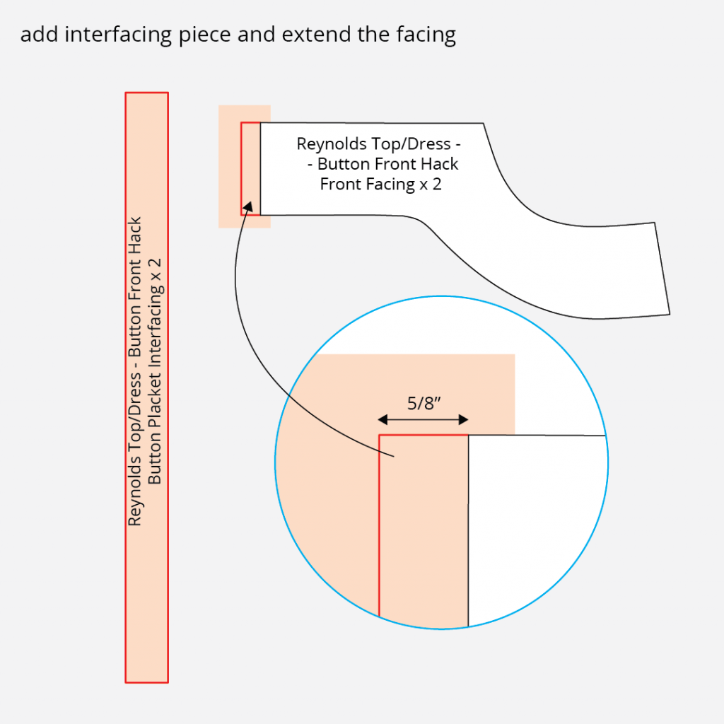 Reynolds Button Front Dress Hack - Interfacing and Facing Extension Technical Illustration