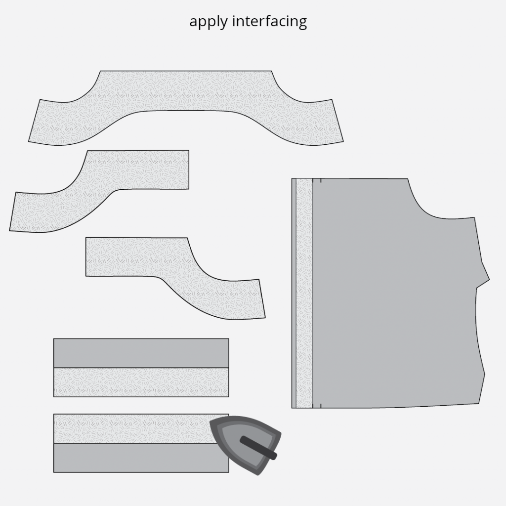Reynolds Button Front Dress Hack - Applying Interfacing Technical Illustration