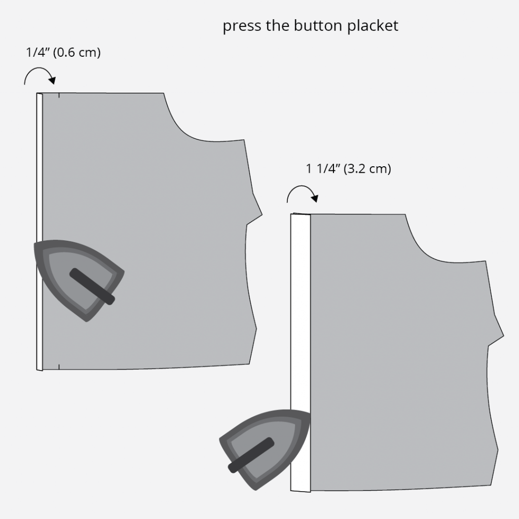 Reynolds Button Front Dress Hack - Creating the Button Placket Technical Illustration