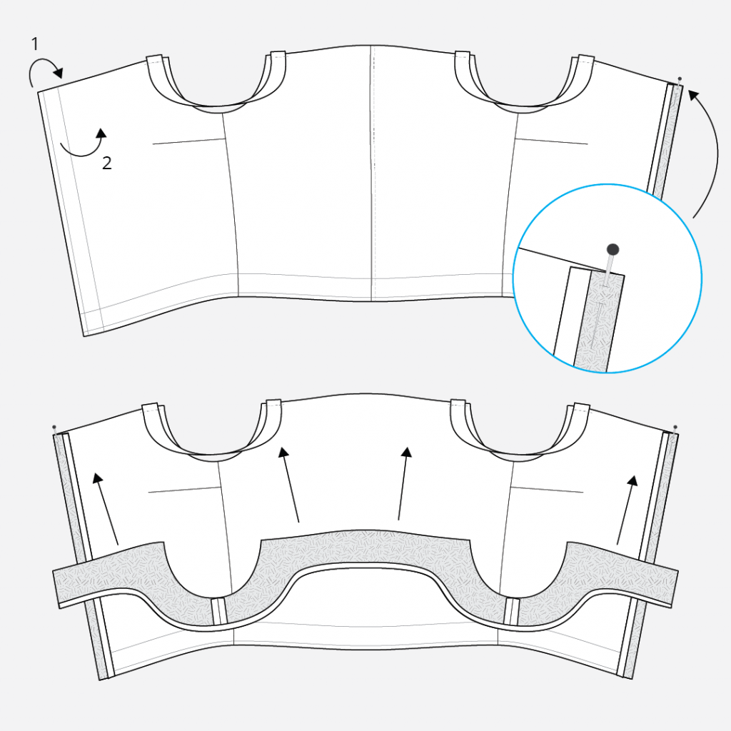 Reynolds Button Front Dress Hack - Attaching the Facing to the Bodice Technical Illustration