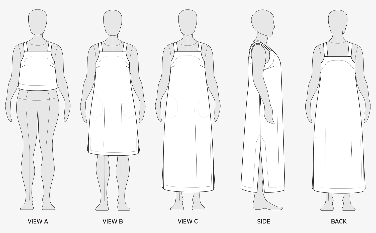 The Reynolds Top and Dress Sewing Pattern from Helen's Closet Patterns Line Drawings