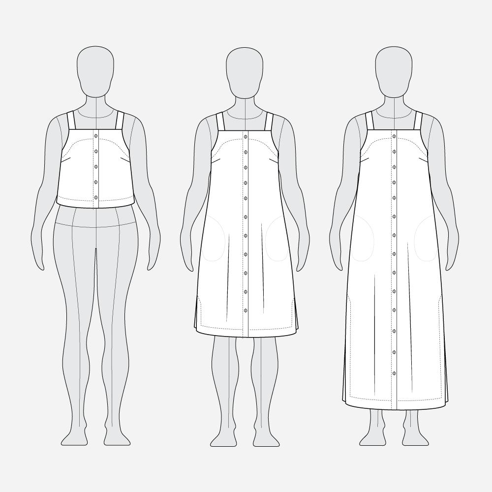 Reynolds Button Front Dress Hack - Line Art All Views
