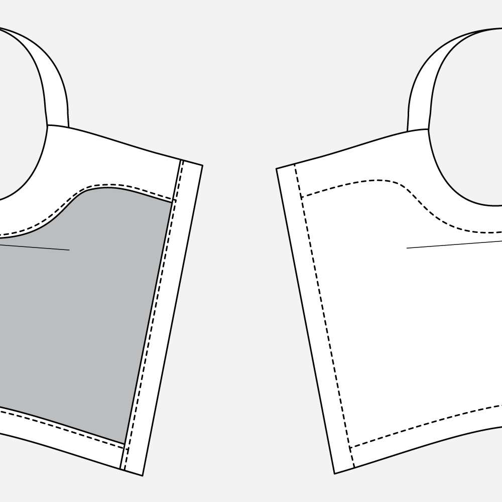 Reynolds Button Front Dress Hack - Topstitching Technical Illustration
