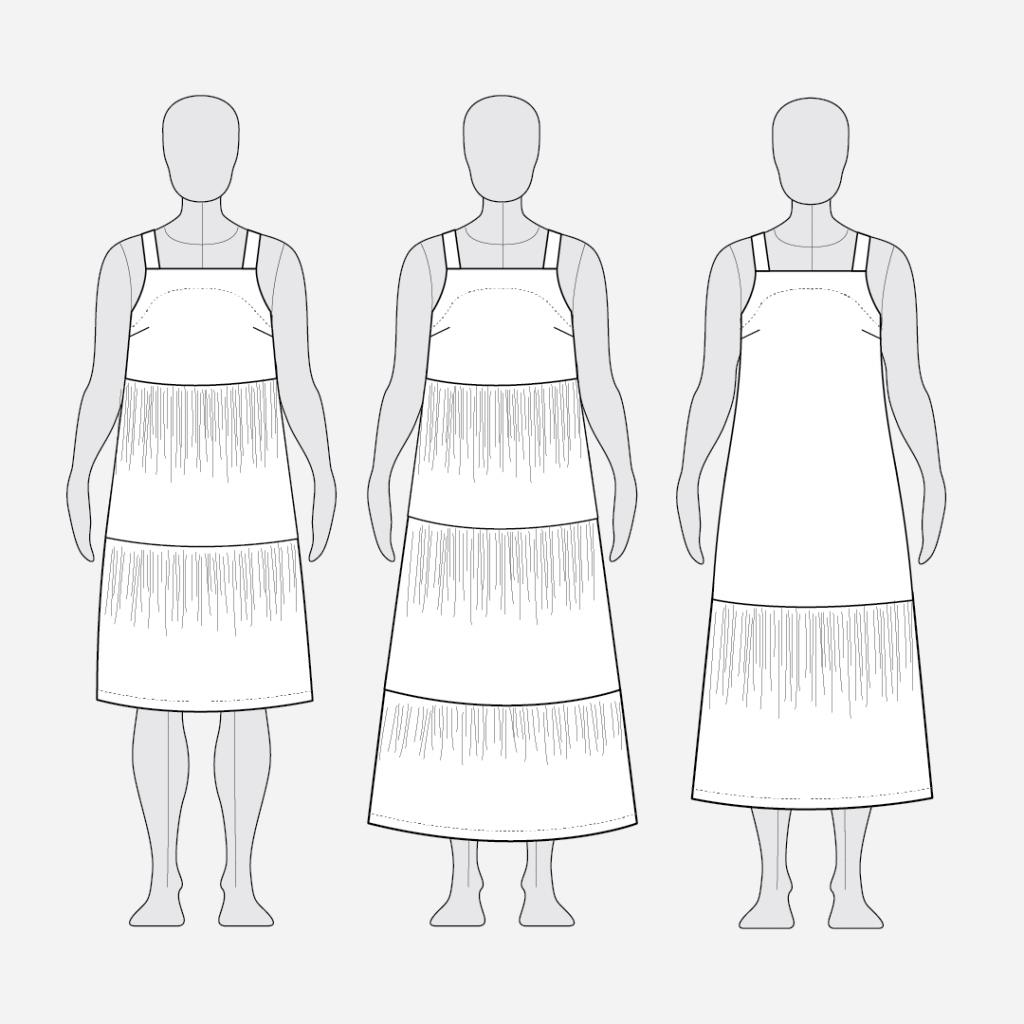 Reynolds Gathered Dress Hack Tutorial Line Drawings