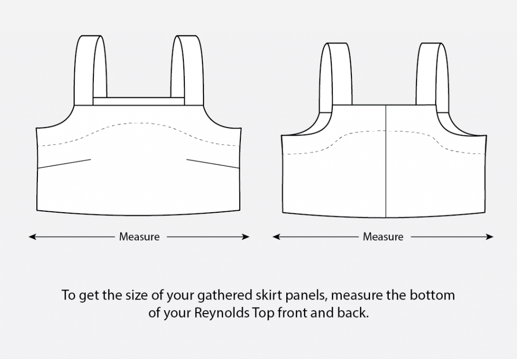 To get the size of your gathered skirt panels, measure the bottom of your Reynolds Top front and back.