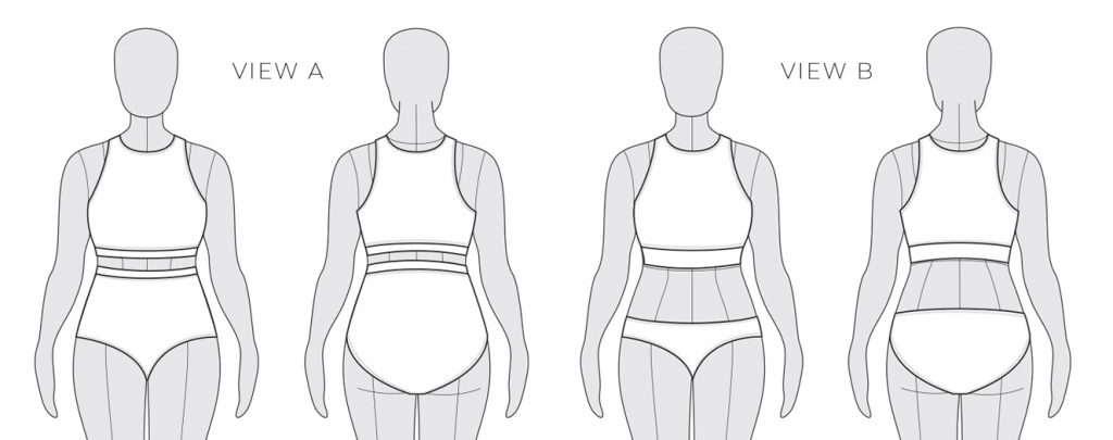Sandpiper Swimsuit Line Drawings from Helen's Closet Patterns