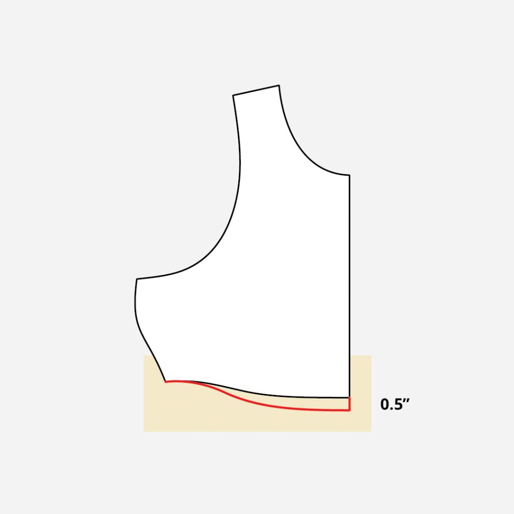 Lengthening the Sandpiper Swimsuit Top Center Front
