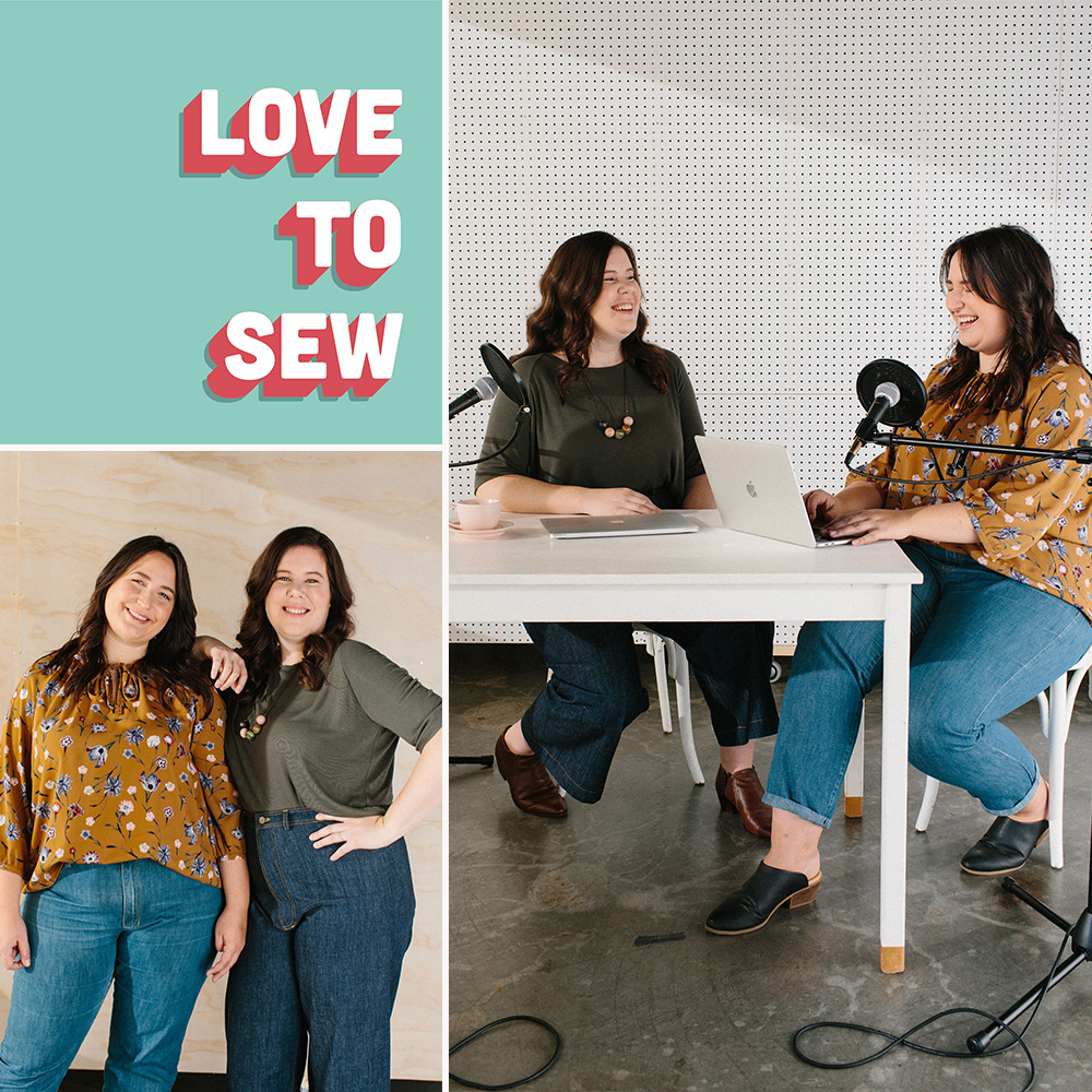 Helen and Caroline recording for the Love to Sew Podcast.