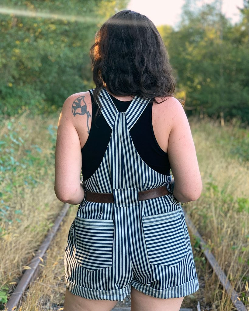 Striped Yanta Overalls with Belt Loops from Helen's Closet